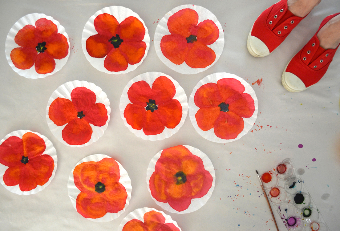 Poppy Art With Coffee Filters