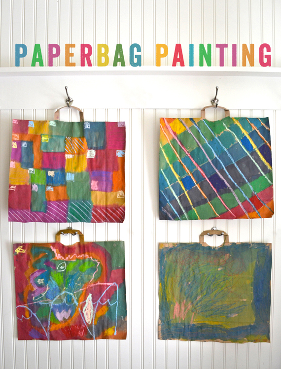 simple open-ended painting invitation for kids using recycled paper bags