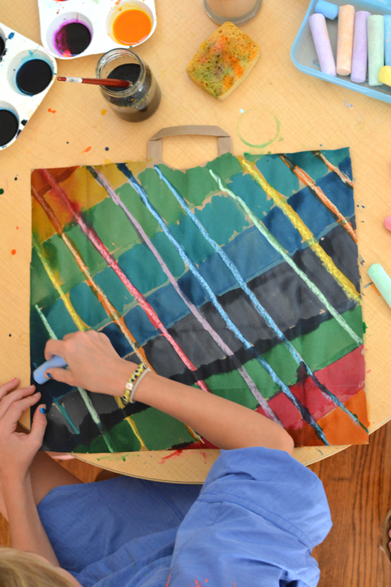 recycled art ~ paint on paper bags | art bar