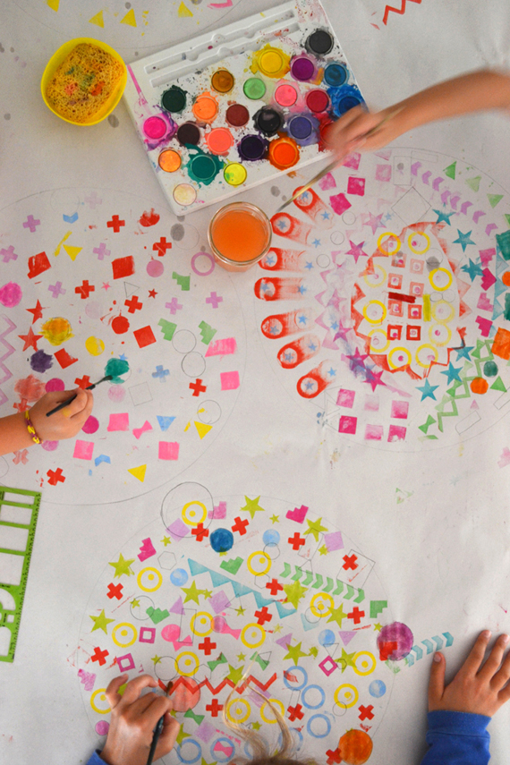 exploring shapes with little ones through mixed media art | art bar
