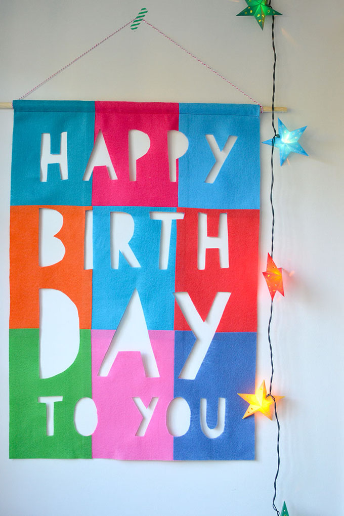 This no-sew happy birthday banner is made from felt and can be used for a lifetime.