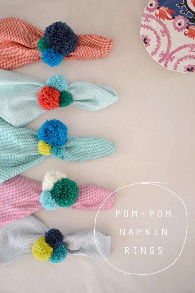 DIY pom-pom napkin rings.