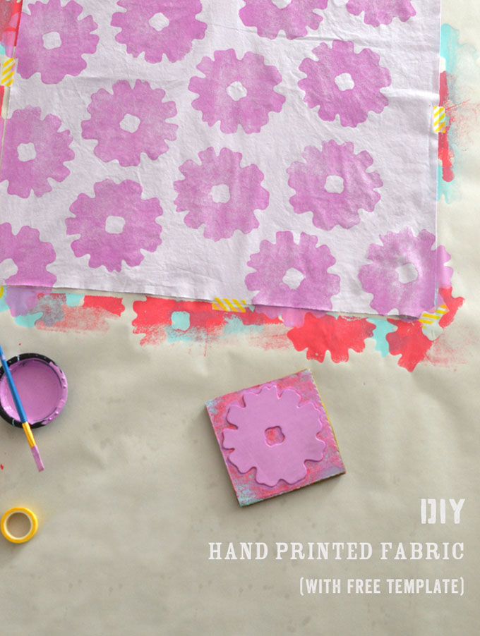 DIY hand printed napkins with foam and cardboard stamp.