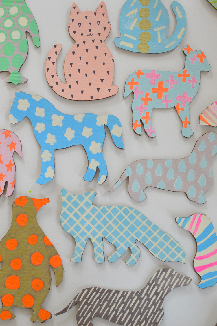 Patterned Cardboard Animals with Templates