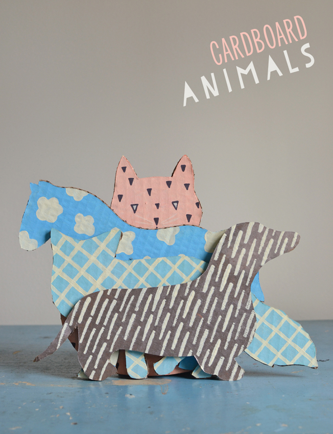 Make animals made from cardboard boxes and paint with patterns. Free animal templates included.