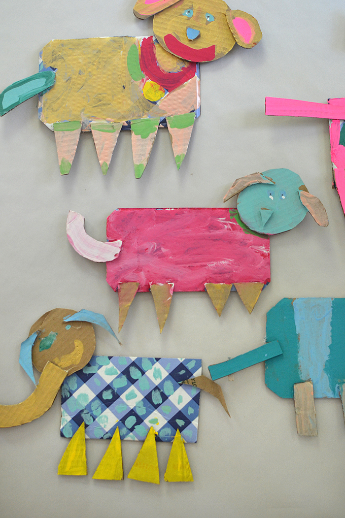 Cardboard animals made by kids, from the book Cardboard Creations by Bar Rucci