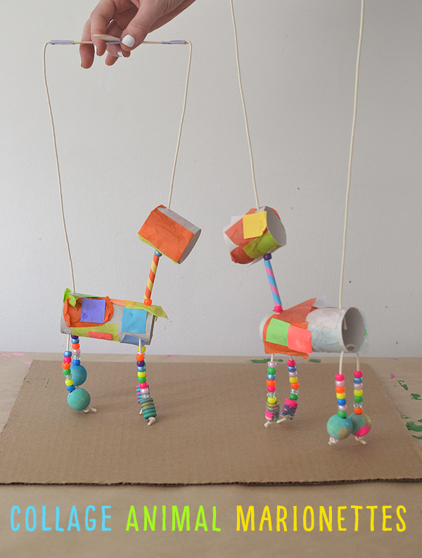 Children make animal marionettes for TP rolls and other materials.