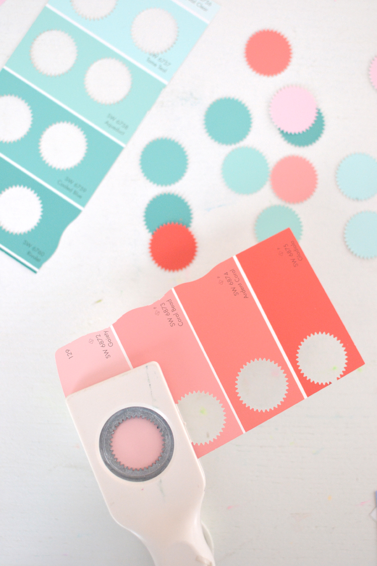 craft punch + paint chips ~ make a garland | @artbarblog