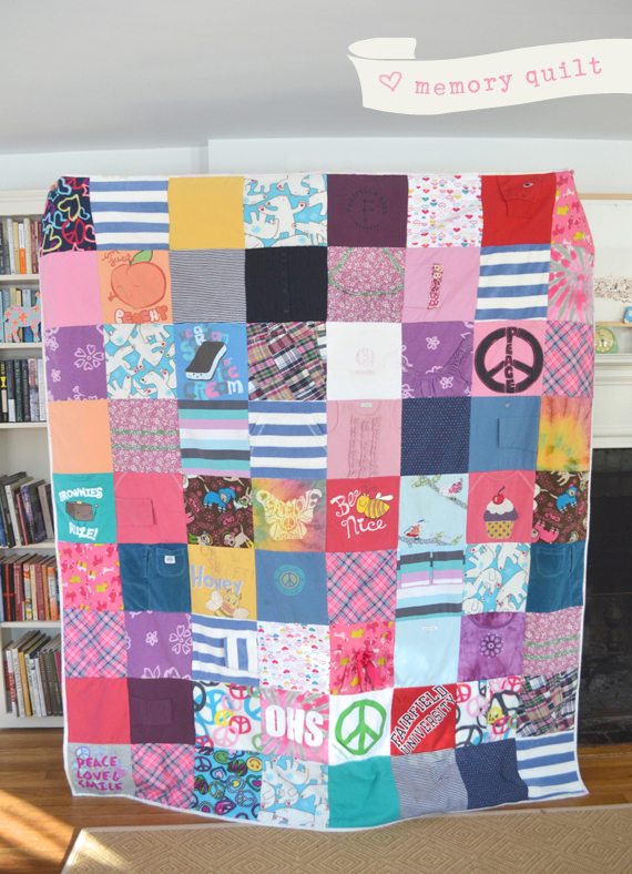 A patchwork quilt made in loving memory of Grace, with her well-loved clothes.