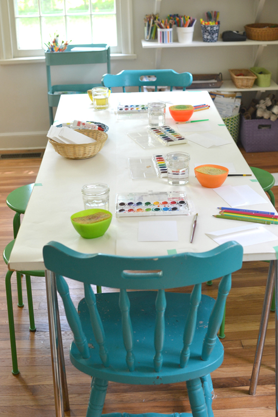 art table set up for four little artists