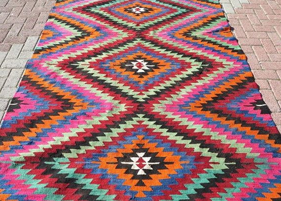 bohemiam kilim rug on Etsy