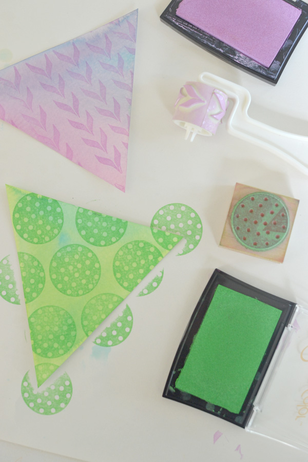 garland made with watercolors + rubber stamps