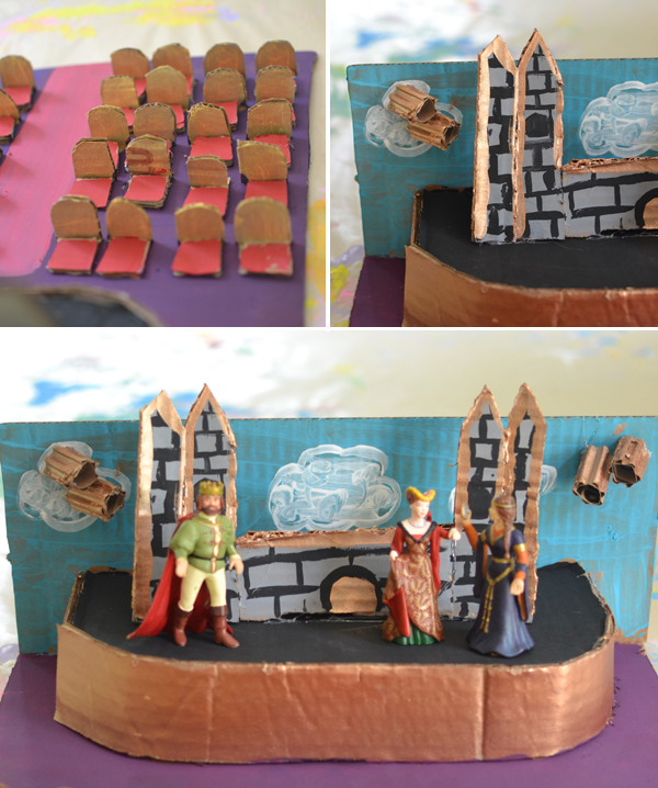 a  mini theatre made from cardboard