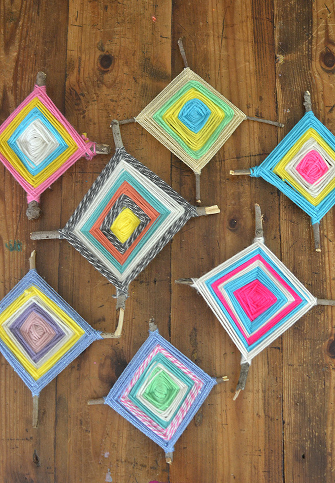 Children make these beautiful God's Eyes with twigs and yarn. Old school craft good for ages 5 to 100.