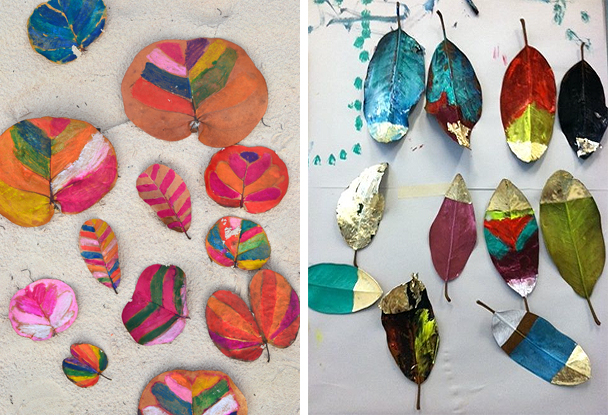 beautiful + simple ideas to paint leaves this fall