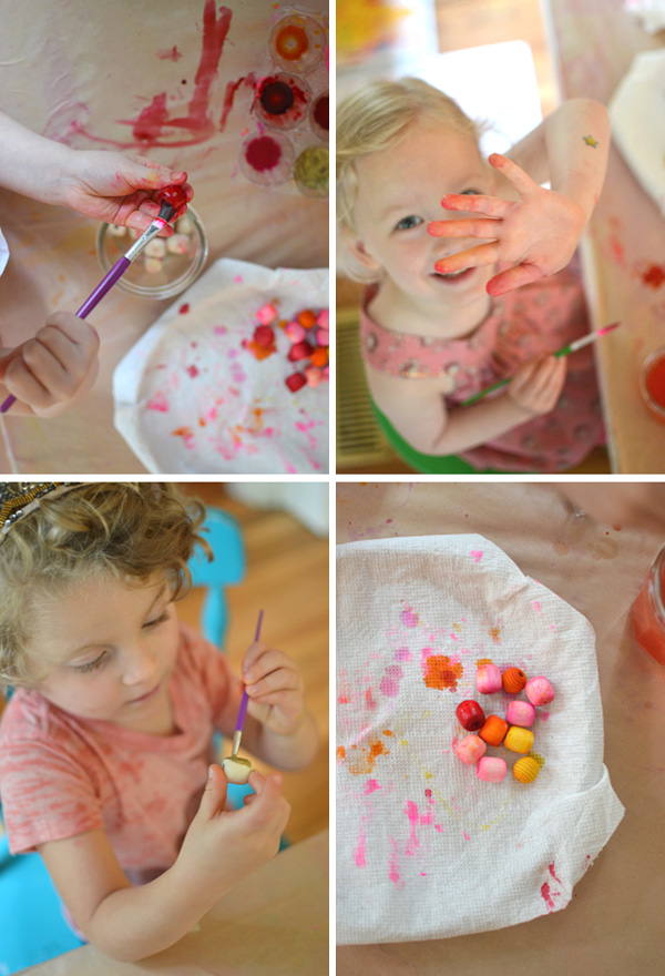 wooden beads painted with liquid watercolors + painted cardboard shapes ~ made by kids ages 3-8yrs