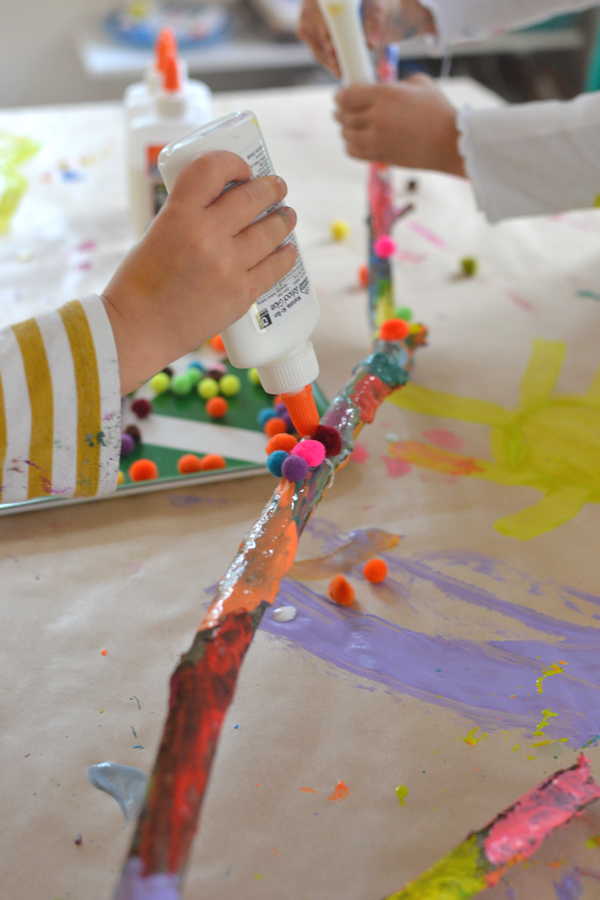 A painted branch collaborative art with kids artbar for Craft paint safe for babies