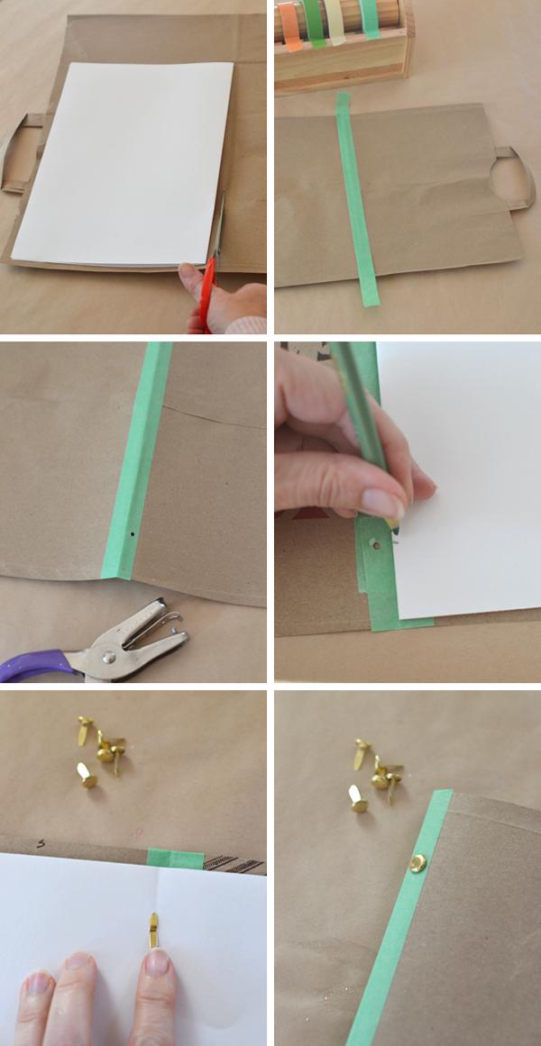 make an art journal from a paper bag and a few supplies
