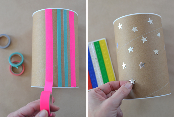 use washi tape and silver star stickers to decorate your tubes