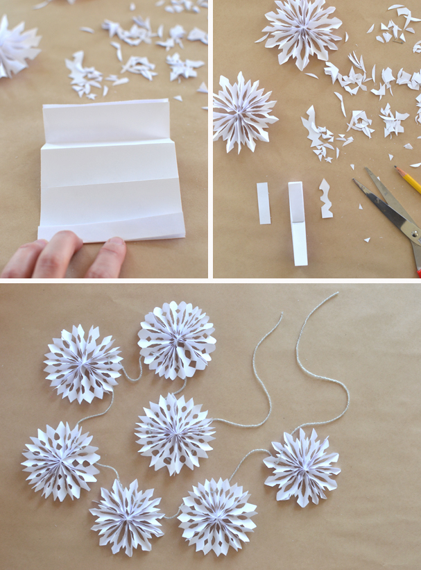 Flocons de neige guirlandes de no l and mains on pinterest - Flocon de neige en papier pliage ...