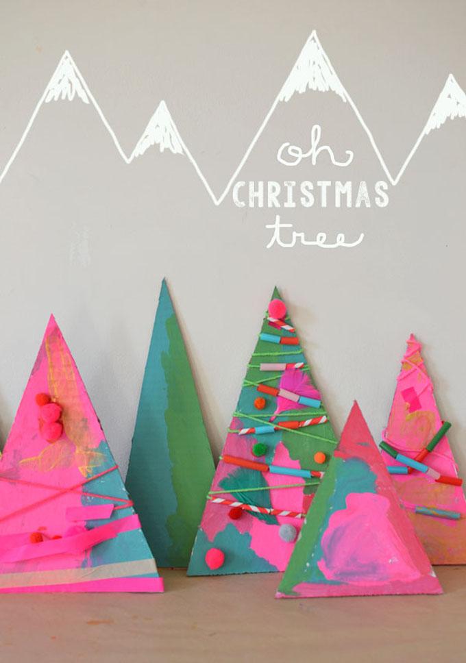 Cardboard Christmas Tree Assemblage