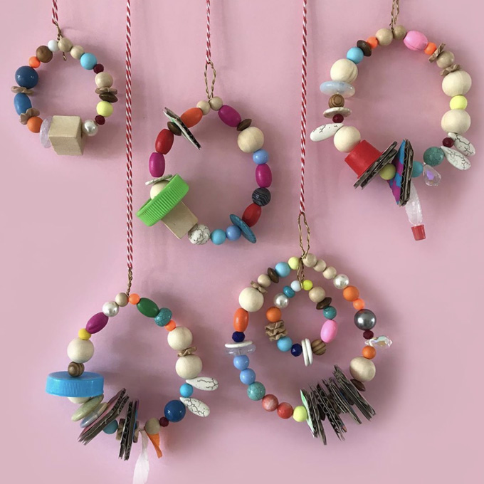 @minimadthings makes handmade ornaments with beads and wire.