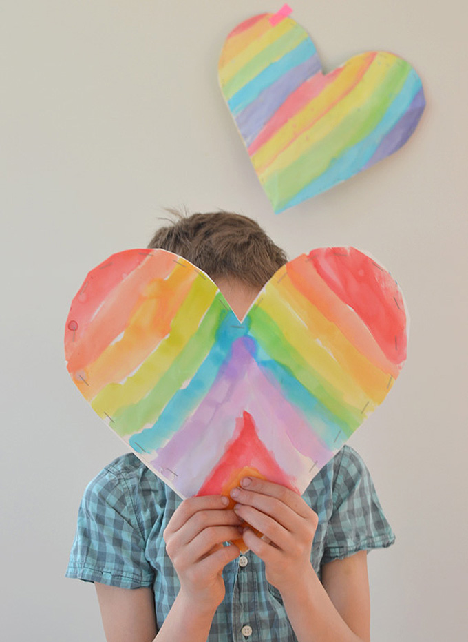 make puffy hearts with paper and watercolors