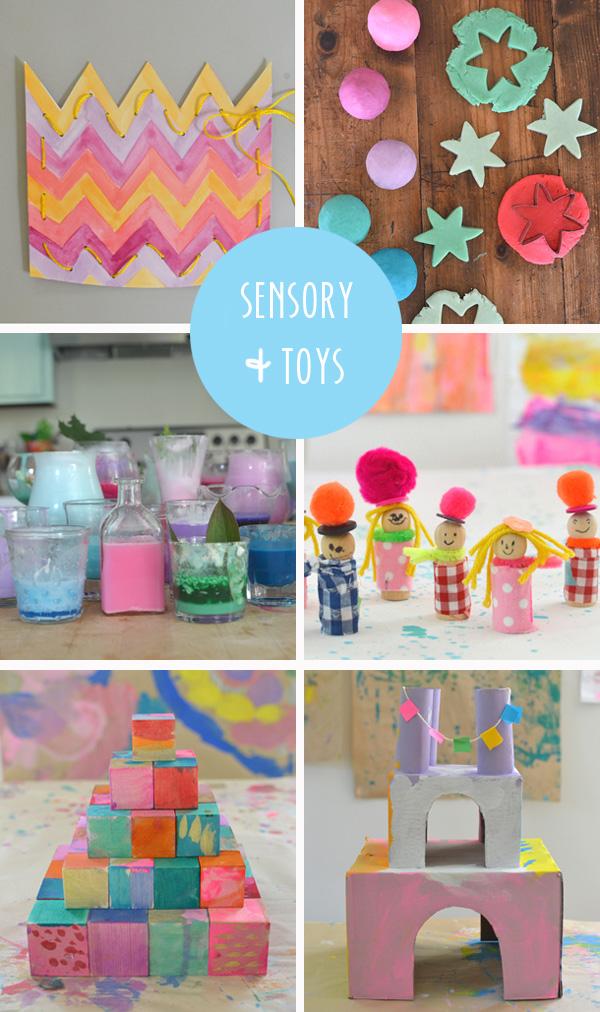 30 creative ideas // {sensory experiences and homemade toys}
