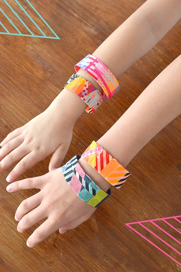 bracelets made by kids with duct tape and washi tape