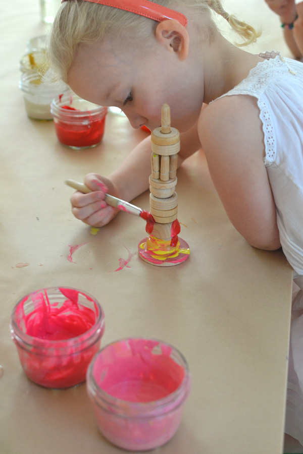 wooden towers made by kids