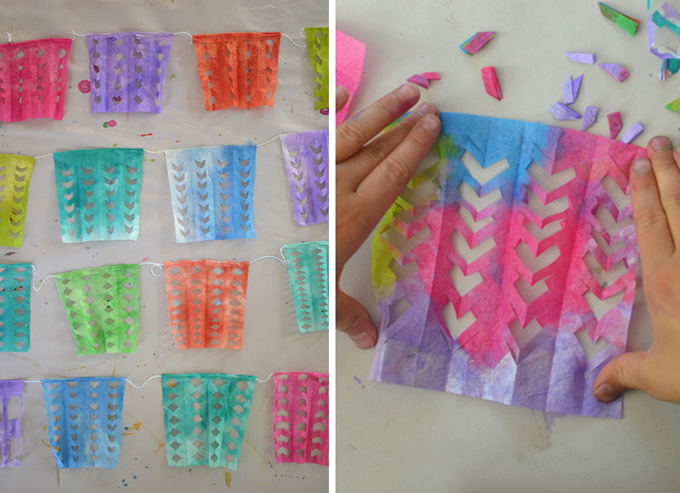 coffee filters painted with liquid watercolor and cut to make garlands