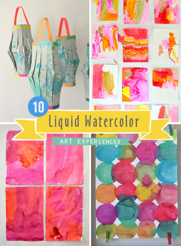 10 art experiences for children using liquid watercolors!