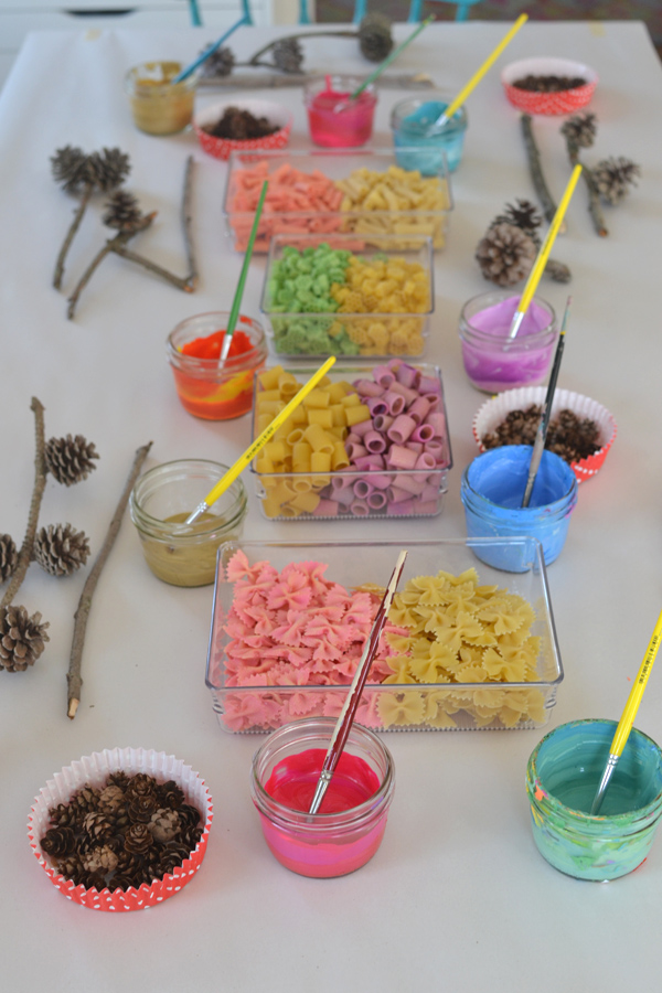 Art Assemblage with Kids // Pinecones & Pasta - ARTBAR