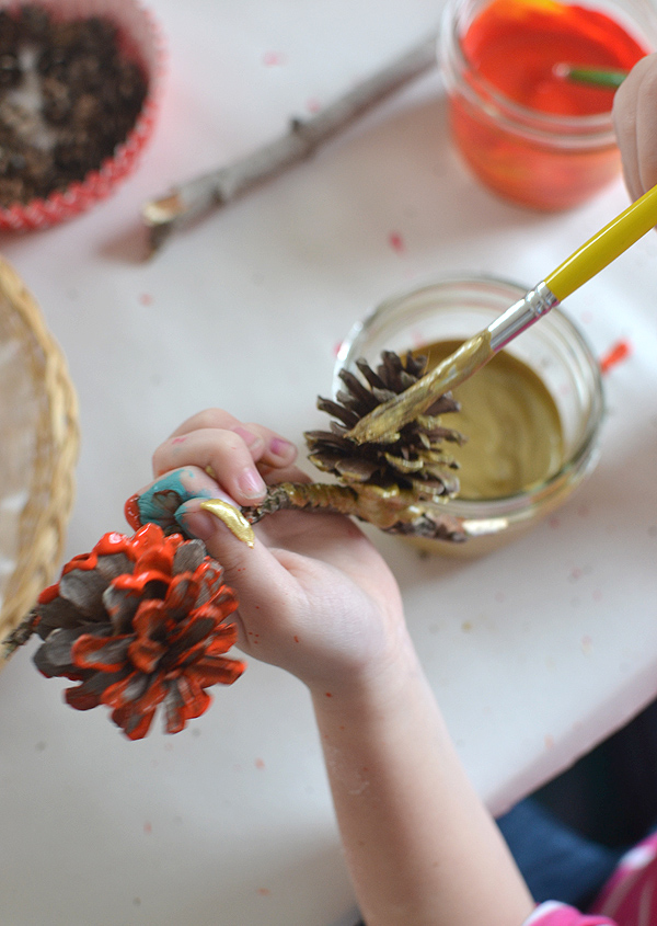 painting pasta, twigs and pinecones for an  assemblage art project