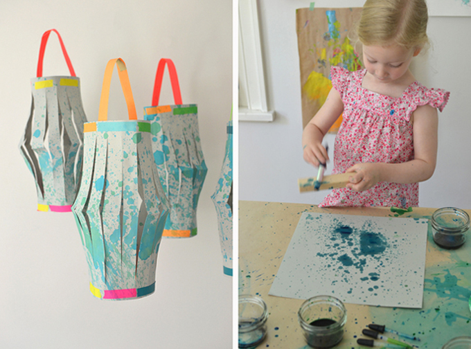 child splatter painting with liquid watercolor - making a paper lantern
