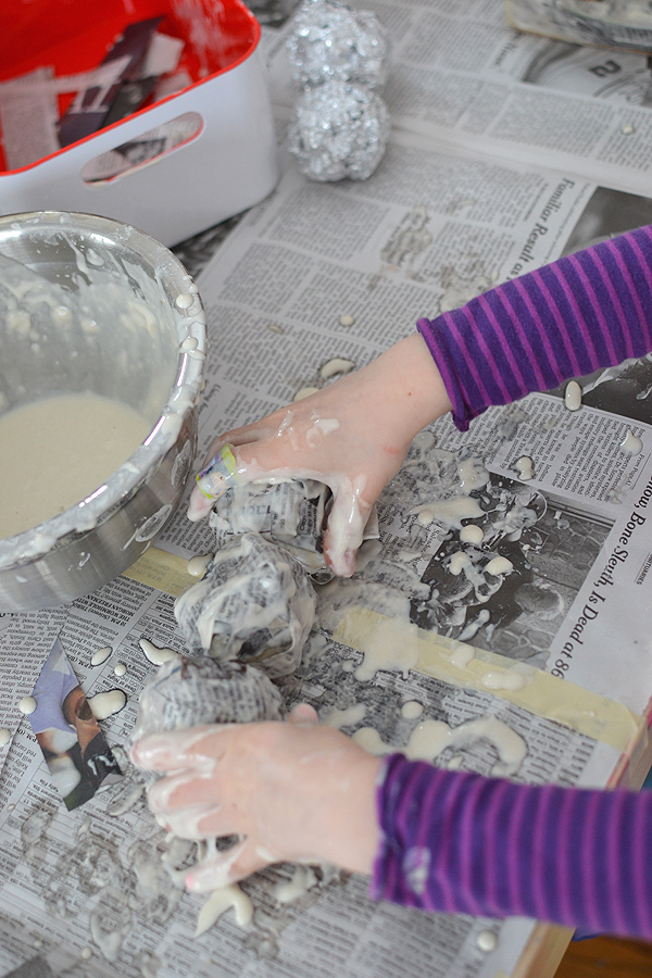 kids use paper mache to make ice cream sundaes ~ a wonderful, sensory, multi-step art experience