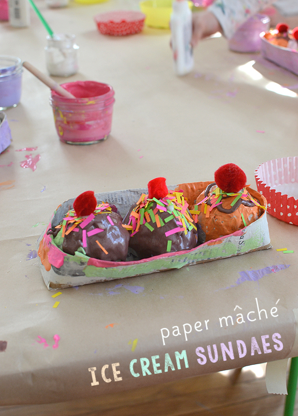 Paper Mâché with Kids // Ice Cream Sundaes