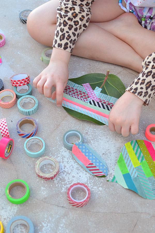 decorate leaves with washit tape ~ a simple craft for all ages