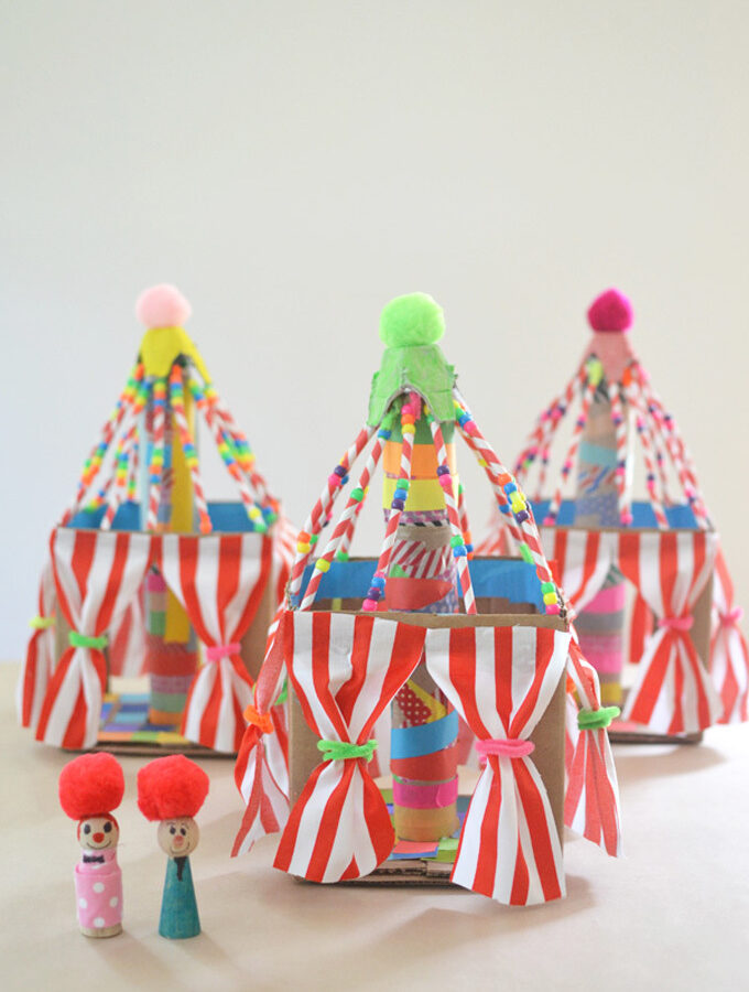 Cardboard circus tent craft for kids with little peg dolls