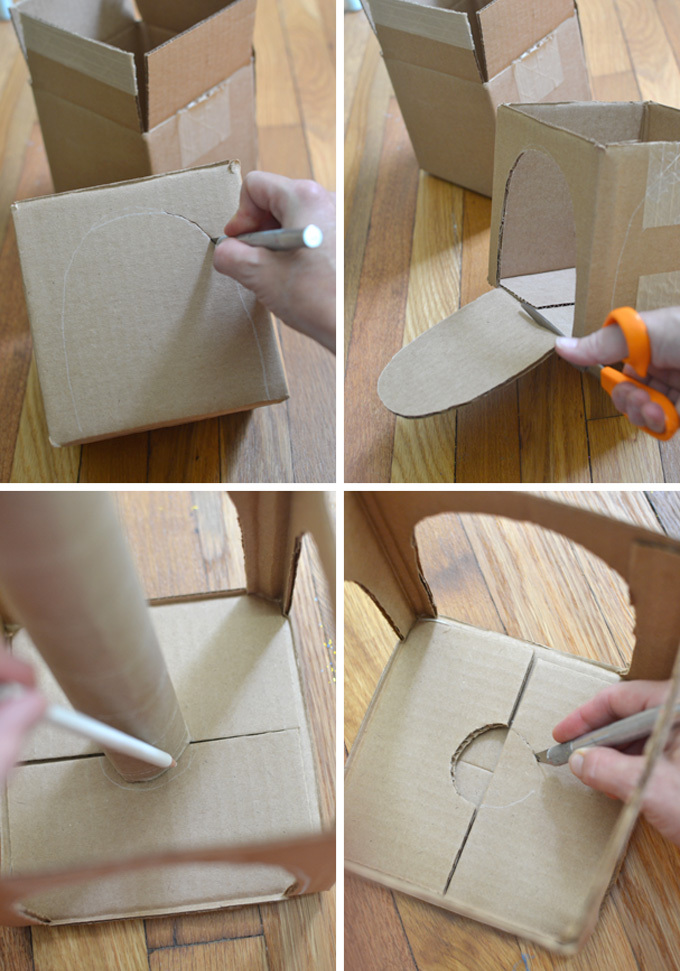 collage of 4 images of cardboard pieces being used to make a kid's craft circus tent