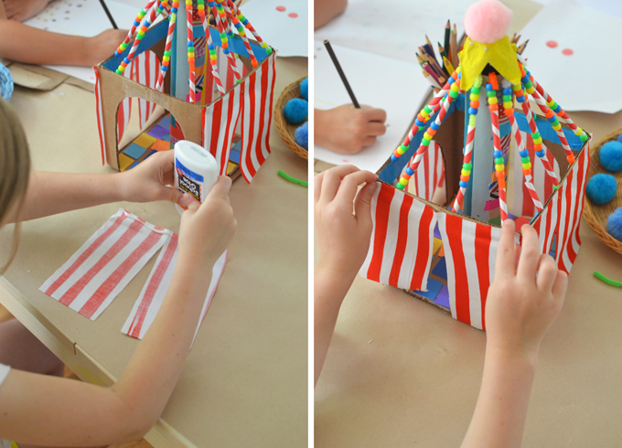 2 steps of craft project showing child gluing fabric onto circus tent