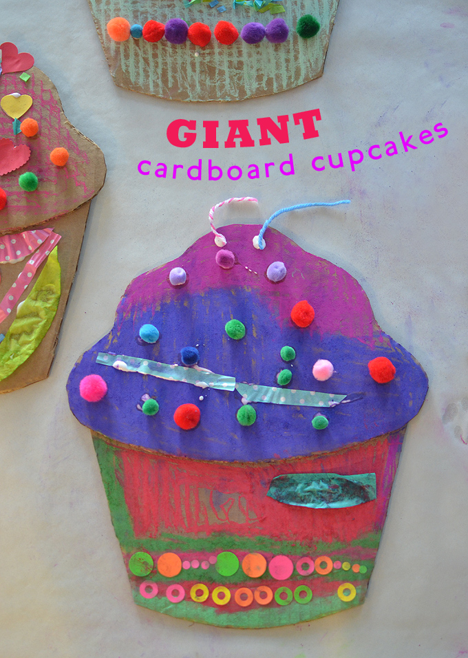 kids make Wayne Thiebauld inspired giant cardboard cupcakes with oil pastels and pom-poms
