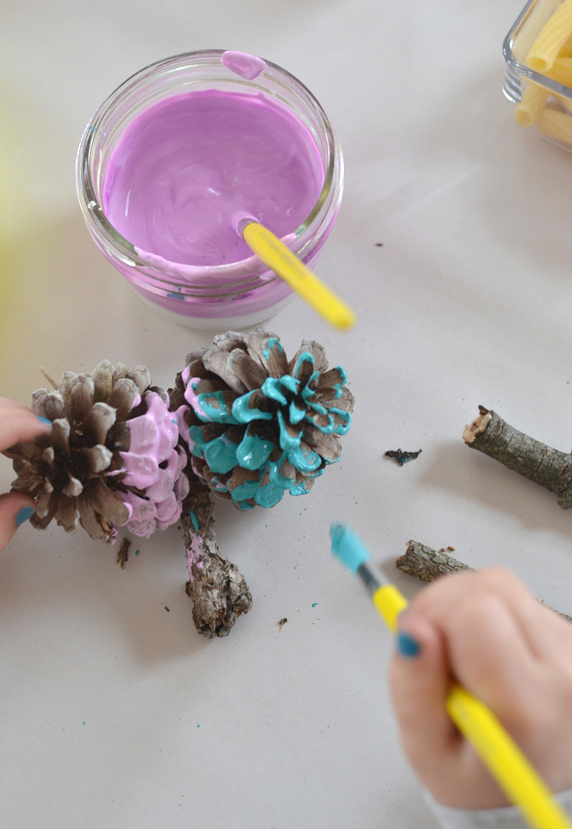painting pinecones with kids