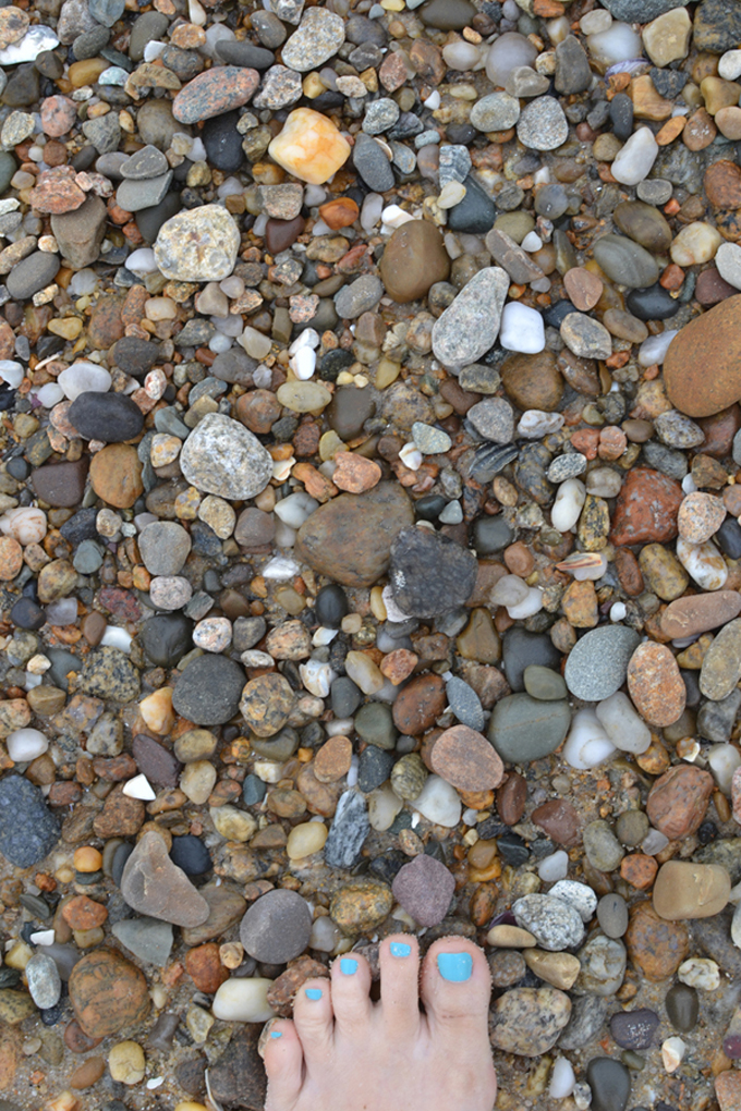 Finding stones on the beach for art projects.