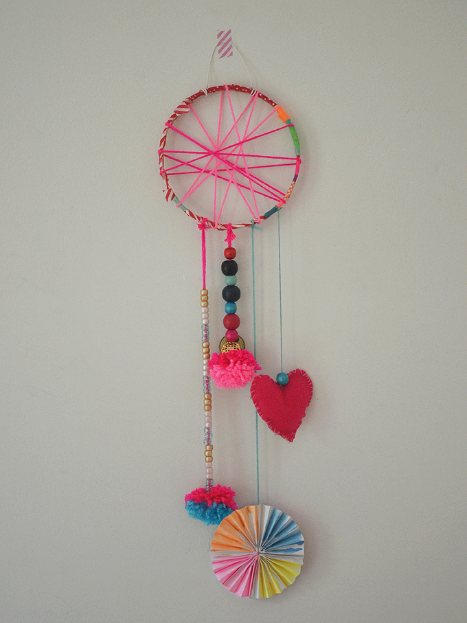 Dreamcatchers made by 5-7yr olds in art camp.