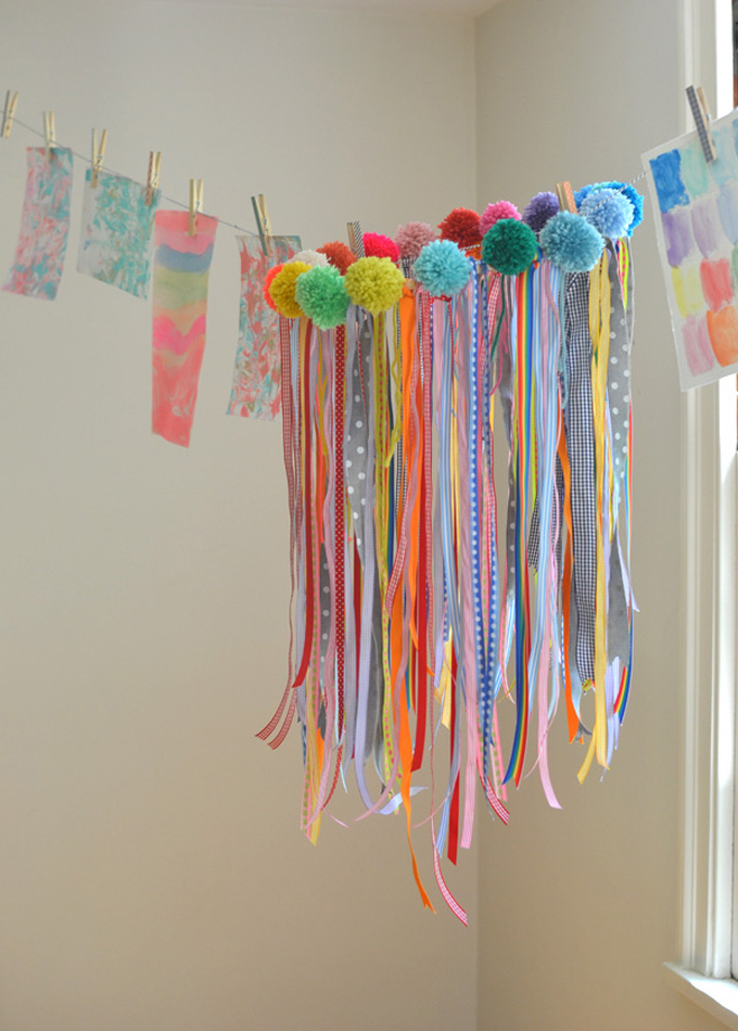Children collaborate to make this ribbon chandelier.