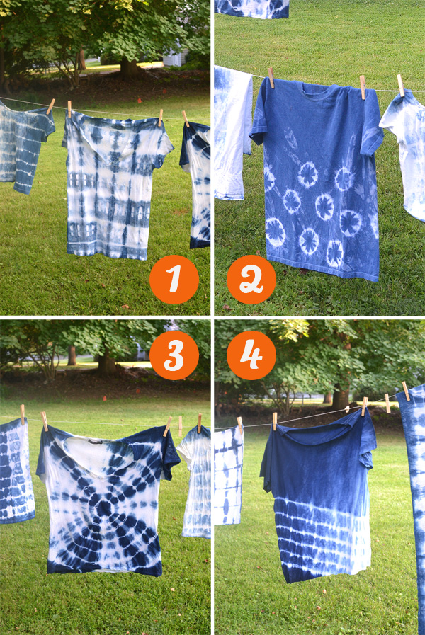 shibori tie-dying with kids in art camp