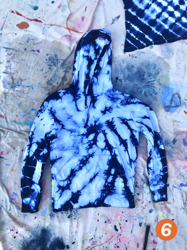 Indigo dying technique with swirl design using a white hoodie.