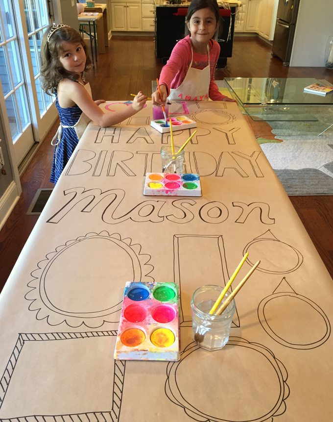Make a birthday banner for your child's party that all their friends can paint!