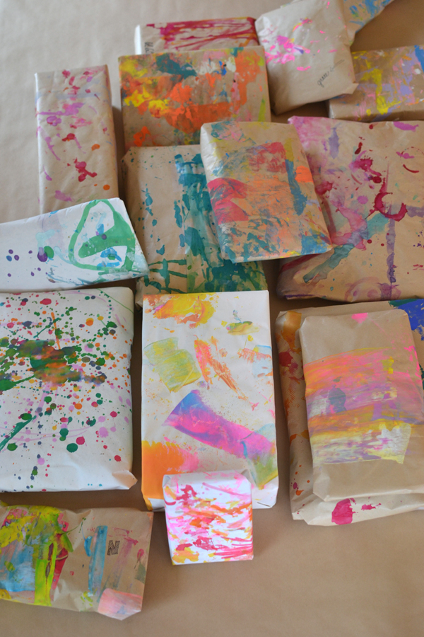 For art class, the tables get covered with paper which I save and use as wrapping paper!